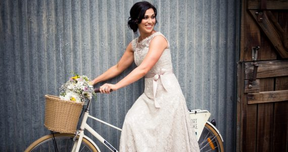 bride with her bike.