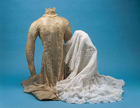 Both wedding gown and slip were badly oxidized, but the slip at right has been restored with our MuseumCare™ process.