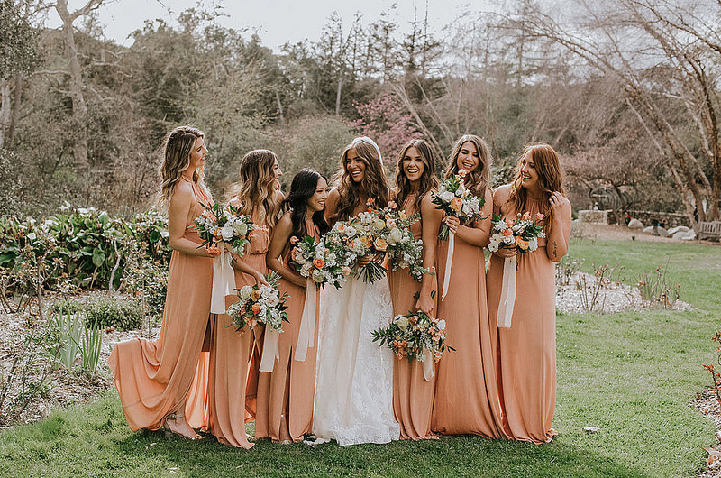 bridesmaids and bride in landscape