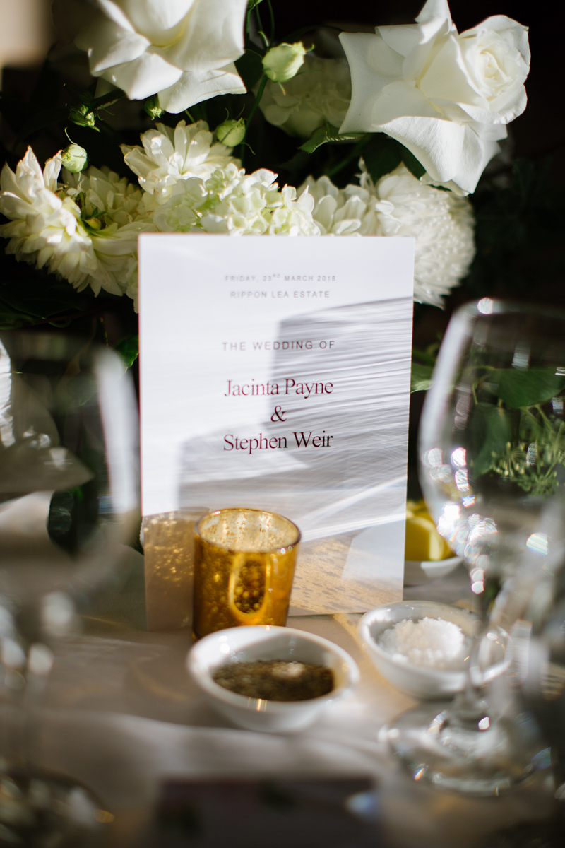 Wedding table seating arrangements at Real Bride Jacinta's wedding at the Rippon Lee Estate in Australia.