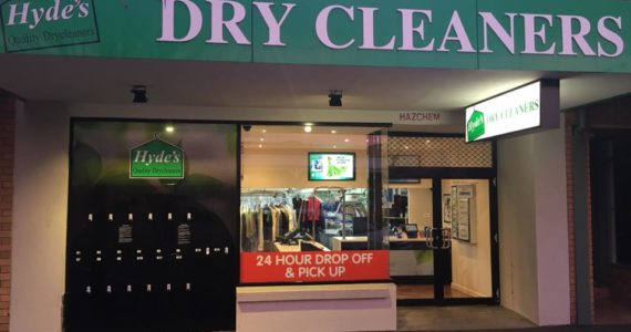 Hyde's Quality Drycleaners storefront in Australia.